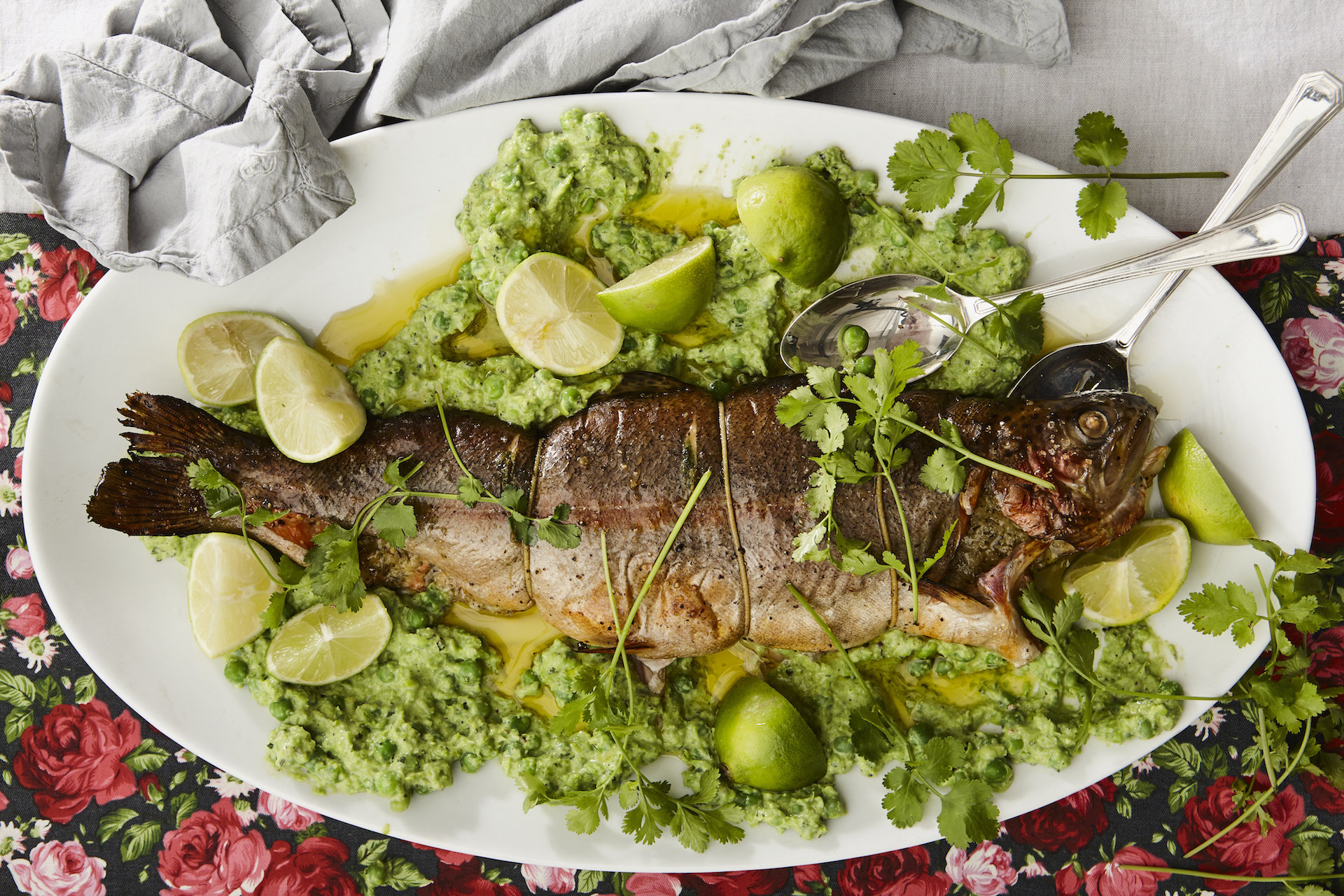 Festive Menu 2: Whole Trout & Pea Puree