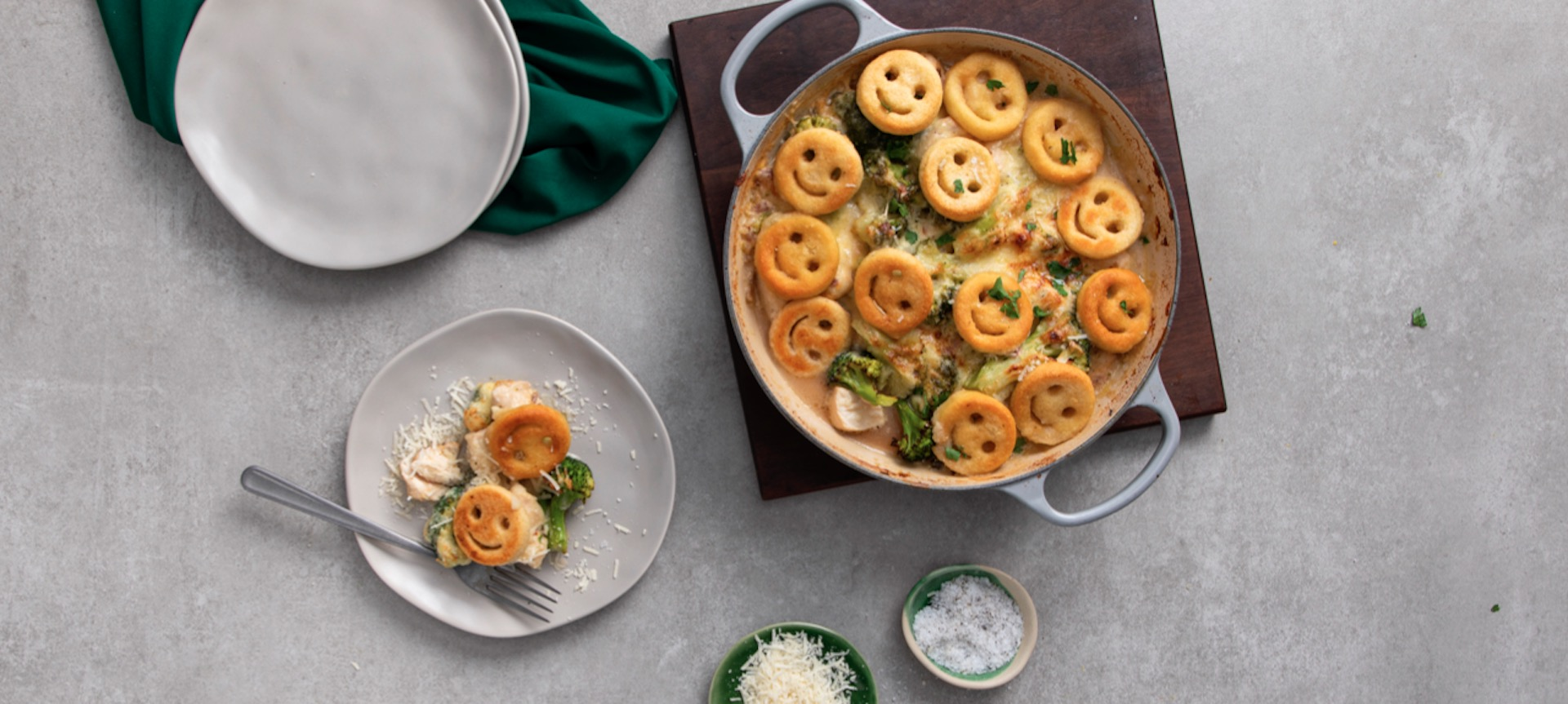Chicken & Broccoli Bake with Smiles